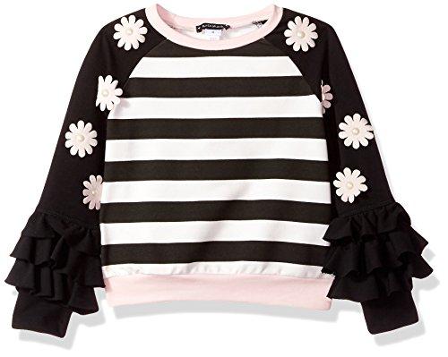 Kate Mack Little Girls' Rumba Roses Striped Sweatshirt, Black/Pink, 5 - Kate Mack Girls Clothing
