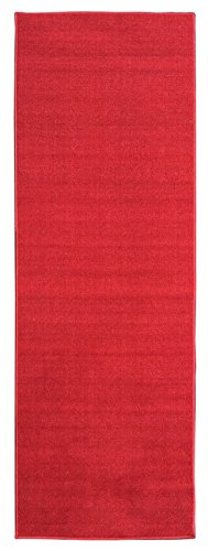"Ottomanson Ottohome Collection Carpet Aisle Solid Hallway Kitchen Runner Rug with Non-Skid (Non-Slip) Rubber Backing, 20"" x 59"", Red"