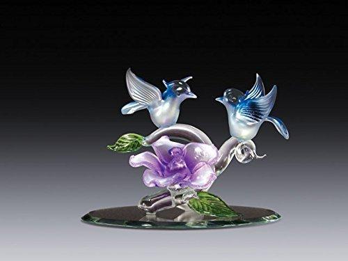 【激安大特価!】  吹きガラスBluebirds with Purple B071YXW595 Purple Flower Figurine H Collectible 3