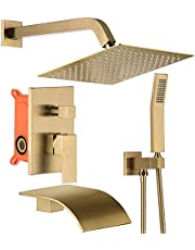 Tub Shower System Brushed Gold Shower Fixtures 10 inch Rain Shower Head and Handle Shower Head Set with Waterfall Tub Spout Shower Faucet Sets (Brushed Gold Shower with 10 inch)