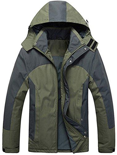 Cloudy Men's Mountain Jacket Fleece Windproof Ski Jacket(Army Green,2XL)