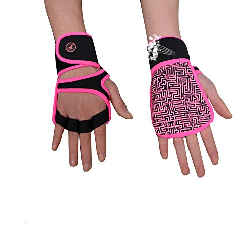 Womens Glove Pink (MOREOK Lightweighted Workout Gloves, Breathable Gym Gloves Full Anti-Slip Palm Protection Adjustable Velcro Strap Exercise Gloves Woman Man (Pink, M))
