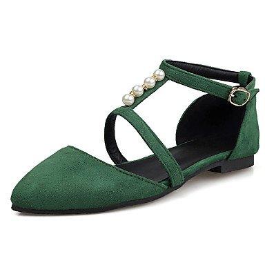 Cómodo y elegante soporte de zapatos de las mujeres pisos de primavera/verano/otoño/invierno D 'Orsay/bailarina/punta Toe fiesta y tarde/vestido/casual Verde oscuro