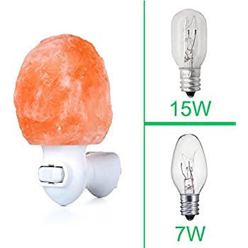 Zoostliss Mini Hand Carved Natural Original Crystal Himalayan Salt Lamp Night Light with Additional Bulb for Backup, 7W+15W Bulbs