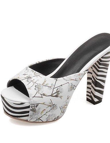 LFNLYX Zapatos de mujer-Tacón Robusto-Tacones / Punta Abierta-Sandalias-Boda / Vestido / Casual / Fiesta y Noche-Semicuero-Negro / Azul / Rosa / White
