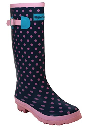 Ladies Womens New Waterproof Rubber Festival Rain Mud Snow Girls Wellington Boots Wellies Sizes UK 3-8 Pink Spots UPgsSFnEke