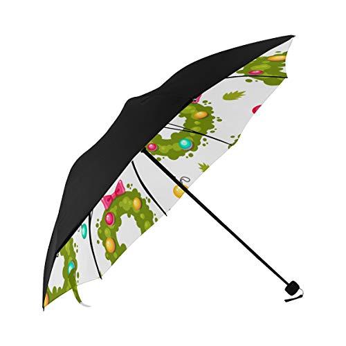 Holiday Wreath Cartoon Romantic Atmosphere Christmas Design Compact Travel Umbrella Parasol Anti Uv Foldable Umbrellas(underside Printing) As Best Present For Women Uv Protection