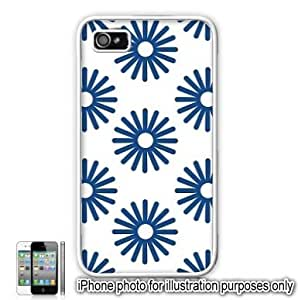 Blue Sun Bursts Pattern Apple iPhone 4 4S Case Cover Skin White