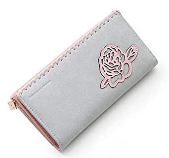 Style Fashion flower Simple Long Wallet For Women - Leather,Blue