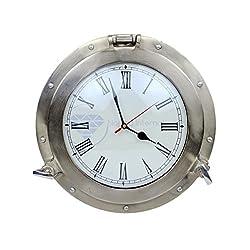 Brushed Nickel Aluminum Metal Roman Porthole Clock | Nautical Navy Decor Gifts | Nagina International (12 Inches)