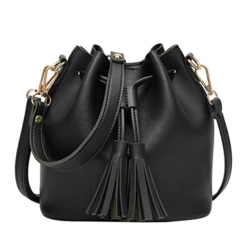Kanpola Leather Bucket Tassels Women Handbag Crossbody Shoulder Fashion Messenger Bag Black Black E6Urwqf6p