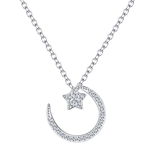 Moon and Star Pendant Necklace, S925 Sterling Silver Necklace