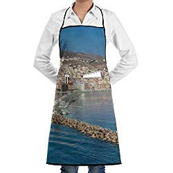 Island Finger Beach City Apron Lace Adult Mens Womens Chef Adjustable Polyester Long Full Black Cooking Kitchen Aprons Bib With Pockets For Restaurant Baking Crafting Gardening Bbq Grill