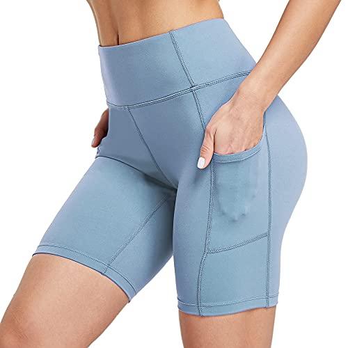 Ogeenier Vrouwen 8 inch Yoga Running Shorts met zakken Tummy Control Workout Fietsen Gym Shorts