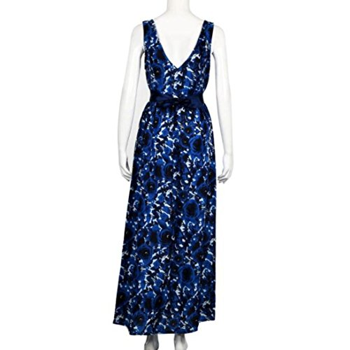 Hatoys Women Sexy Floral Long Formal Prom Party Ball Gown Evening Wedding Dress (M, Blue) from Hatoys