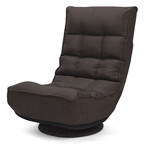 Giantex 360 Degree Swivel Game Chair Folding 4-Position Adjustable Floor Lazy Sofa Chair ()