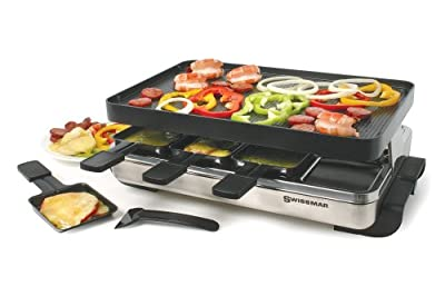 Swissmar KF-77080 Stelvio 8-Person Raclette Party Grill with Reversible Cast Aluminum Non-Stick Grill Plate/ Crepe Top, Brushed Stainless Steel
