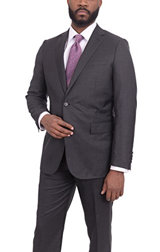 (Mens Slim Fit Charcoal Gray Check Two Button Super 150s Wool Suit)