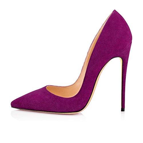 Femme violet Stilettos Ubeauty Suede Femmes Escarpins Aiguille Taille Chaussures a Grande Talons Talon qx8PwpT