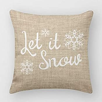Moslion Home Decor Let It Snow Polyester Pillow Covers 18 X 18 Inches