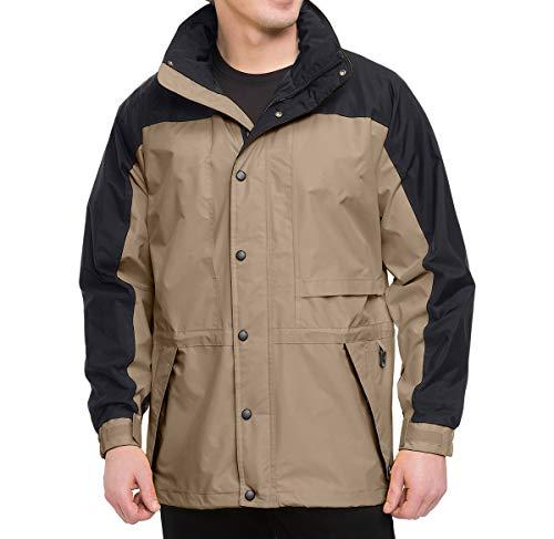 (Premium Quality Men's 100% Toughlan Nylon Parka Climax Jacket - Khaki/Black, 2XL)