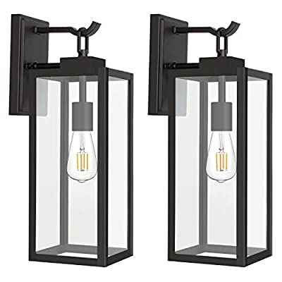 Hykolity Outdoor Wall Lantern with ST19 LED Bulb,2700K,60W Equivalent, Matte Black Wall Light Fixtures, Architectural Wall Sconce with Clear Glass Shade for Entryway, Porch, Doorway, ETL Listed,2 Pack - ✔ WONDERFUL AMBIENT LIGHTING - This wall sconce lighting is decorative wall-mounted fixture that provides a beautiful light for entryway, doorway, foyer, corridor, balcony, patio and porch. ✔ OUTDOOR WEATHER RESISTANT - Our wall sconces with heavy-duty rugged metal construction and clear glass panels, ideal for any outdoor environment. ✔ ONLY 3 STEP INSTALLATION - Attach the cross bar to the junction box, connect the wires and then fasten this wall light to the cross bar. - patio, outdoor-lights, outdoor-decor - 41iaFU1qXxL. SS400  -