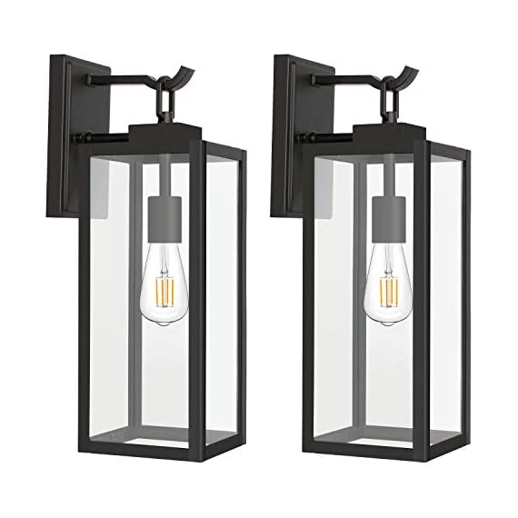 Hykolity Outdoor Wall Lantern with ST19 LED Bulb,2700K,60W Equivalent, Matte Black Wall Light Fixtures, Architectural Wall Sconce with Clear Glass Shade for Entryway, Porch, Doorway, ETL Listed,2 Pack - ✔ WONDERFUL AMBIENT LIGHTING - This wall sconce lighting is decorative wall-mounted fixture that provides a beautiful light for entryway, doorway, foyer, corridor, balcony, patio and porch. ✔ OUTDOOR WEATHER RESISTANT - Our wall sconces with heavy-duty rugged metal construction and clear glass panels, ideal for any outdoor environment. ✔ ONLY 3 STEP INSTALLATION - Attach the cross bar to the junction box, connect the wires and then fasten this wall light to the cross bar. - patio, outdoor-lights, outdoor-decor - 41iaFU1qXxL. SS570  -