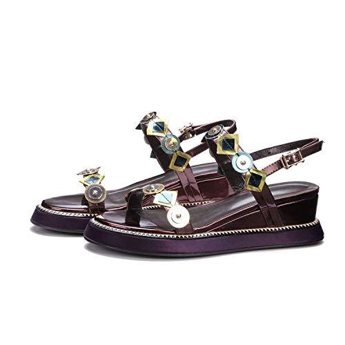 Zapatos Rojo Sandalias Hebilla Abierta Lentejuelas Grueso Vino Punta Verano Jincosua Con Damas 38 Tamaño Mujer color vxqAwdnfO