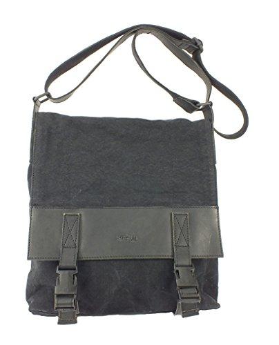 850 East Line TREND Leder Canvas Handtasche Messenger schwarz/grau Maße ca. 35x31cm Schwarz QRvD1GilSA