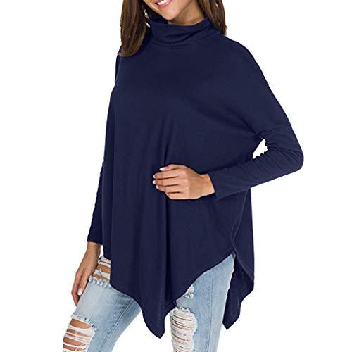 Londony Fashion 2019 Tops in Women's Turtleneck Batwing Long Sleeve Hankerchief Hem Loose Casual Tunic