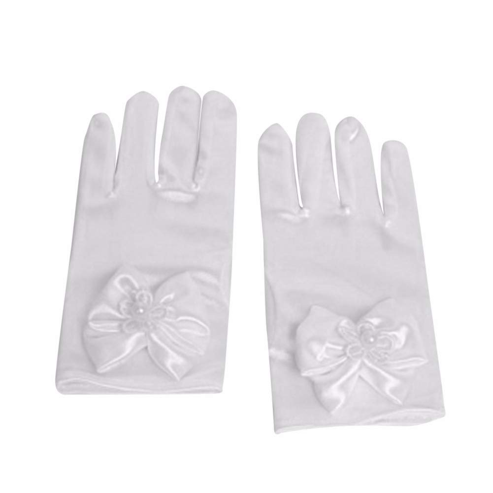 pengyu Fashion Solid Color Kids Girls Faux Pearl Bowknot Dress Gloves Wedding Mittens Gloves Arm Sleeve Bride