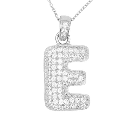 Pave Personalized Necklace - 925 Sterling Silver Micro Pave CZ Letter E Initial Personalized Pendant Necklace