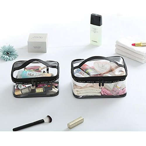 Homebetter PVC Transparent Cosmetic Bags Women's travel Waterproof PVC Waterproof Wash Cosmetic Bag Makeup Bag TSA Approved Airport Airline Compliant Quart Bag (Lager)