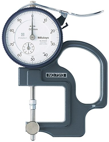 Mitutoyo 7313 Dial Thickness Gage, Lens Thickness Reverse Anvil, 0-10mm Range, 0.01mm Graduation, +/- 15 micrometer Accuracy