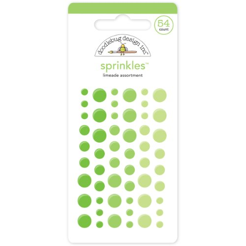 Doodlebug Sprinkles Glossy Enamel Adhesive, Limeade Dots, 54-Pack (Limeade Dot)