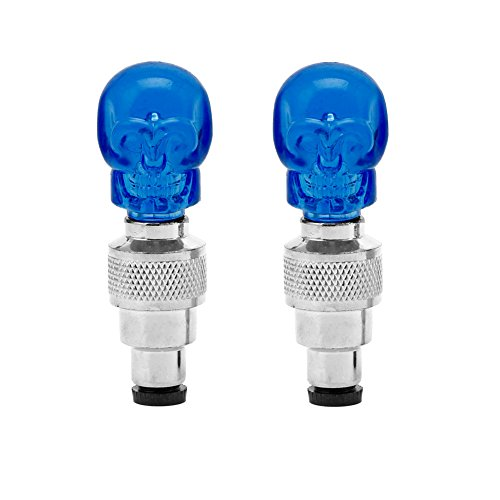 Delight eShop2pcs Skull Shape Valve Cap LED Light Wheel Tyre Lamp For Car Motorbike Bike New
