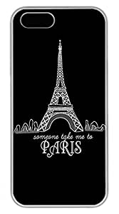 iPhone 5 5S Case Illustration Style The Eiffel Tower In Paris 2 Funny Lovely Best Cool Customize iPhone 5S Cover White