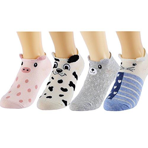 HSELL Cute Animal Low Cut Socks, No Show Socks