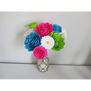 Bright Paper Flower Bouquet, Modern Roses and Daisies, Fuchsia Pink, Aqua Blue and Green Neon Colors 1.5 to 3 Inch Blooms, 9 Stemmed Floral Decor 3