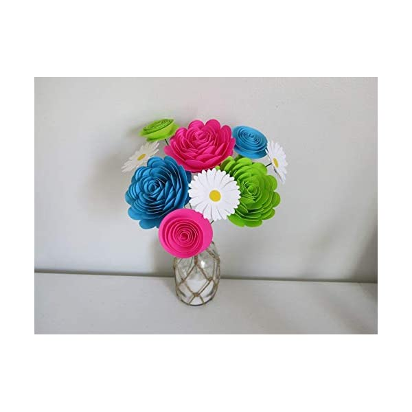 Bright Paper Flower Bouquet, Modern Roses and Daisies, Fuchsia Pink, Aqua Blue and Green Neon Colors 1.5 to 3 Inch Blooms, 9 Stemmed Floral Decor