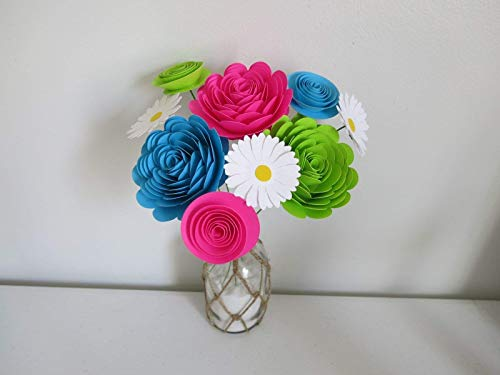 Bright-Paper-Flower-Bouquet-Modern-Roses-and-Daisies-Fuchsia-Pink-Aqua-Blue-and-Green-Neon-Colors-15-to-3-Inch-Blooms-9-Stemmed-Floral-Decor