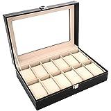 Men's jewelry box High-grade 12 Compartment wood watch box organizer case black