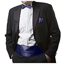 GASSANI Navy Blue Men\'s Shiny Satin Cummerbund, Pretied Bow Tie & Pocket Square
