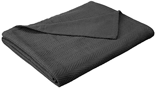 Superior 100% Cotton Thermal Blanket - All-Season Oversized Throw, Woven Blanket with Herringbone Weave Pattern, Charcoal, Full/Queen -