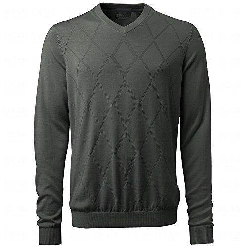 Ashworth Men's Diamond Texture Pima Sweater (Large, Dark Grey)