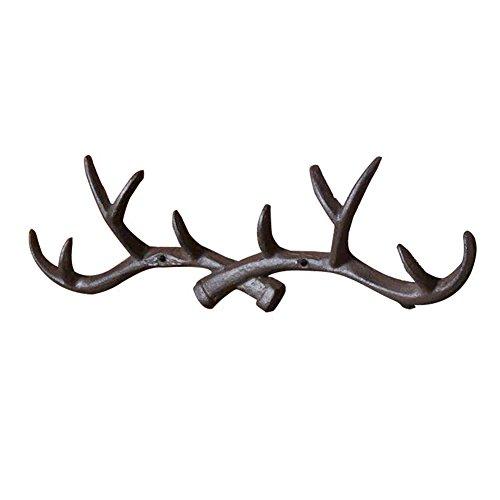 Vintage Cast Deer Antlers Wall Hooks (10 Hooks) Coat Rack Decorative for Hanging Hat Scarf Bag Key Clothes Bathroom Kitchen Towel Holder Christmas Reindeer Deer Hanger Wall Wedding Gift (Black)