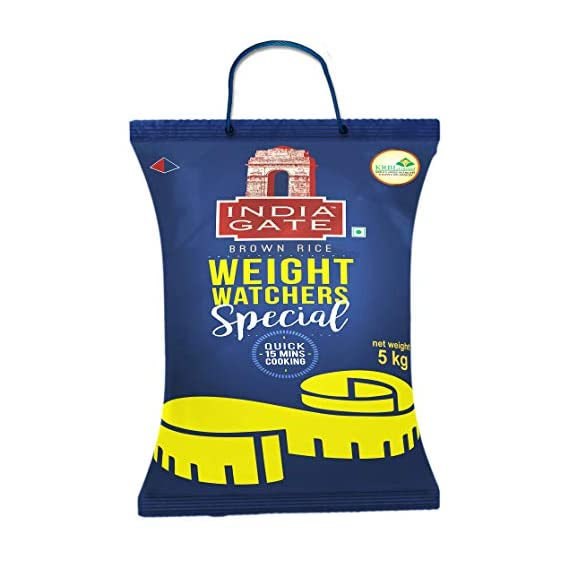INDIA GATE 100% Whole Grain Brown Rice | Weight Watchers Special | Low GI enriched with high Fibre, 5 Kg Pack