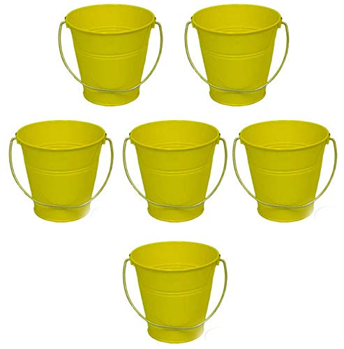 ITALIA 6-Pack Metal Bucket 1.5 Quart Color Yellow Size 5.6 X 6