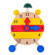 Wooden Clock Block Toy Children Colorful Dismounting Alarm Clock Toy