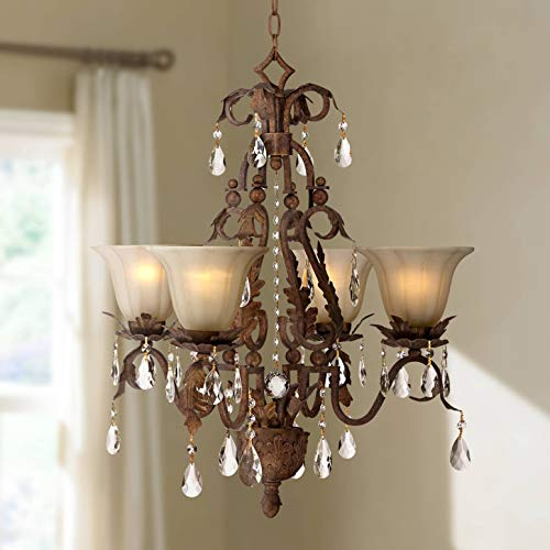 Bronze Hanging Roman - Iron Leaf 4-Light Roman Bronze and Crystal Chandelier - Regency Hill